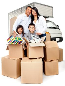 Family moving house needing the truck services to carry boxes